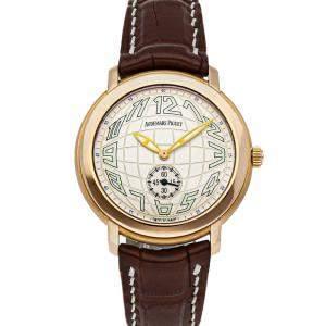 Audemars Piguet Silver 18K Rose Gold Jules Audemars 15056OR.OO.A088CR.01 Men's Wristwatch 36.5 MM