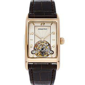 Audemars Piguet Silver 18K Rose Gold Edward Piguet Tourbillon 25819OR/O/0009/01 Men's Wristwatch 27 x 41 MM