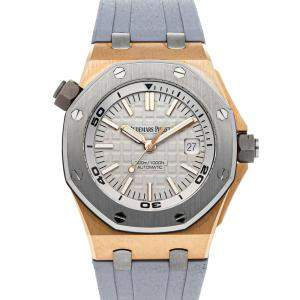 Audemars Piguet Grey 18K Rose Gold And Stainless Steel Royal Oak Offshore Diver Limited Edition 15711OI.OO.A006CA.01 Men's Wristwatch 42 MM