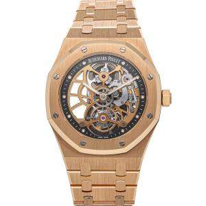 Audemars Piguet Silver 18K Rose Gold Royal Oak Tourbillon Extra-Thin Openworked Limited Edition 26518OR.OO.1220OR.01 Men's Wristwatch 41 MM