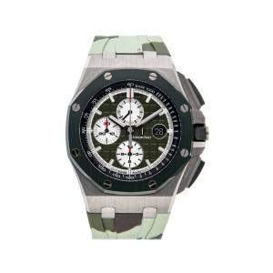 Audemars Piguet Green Stainless Steel Royal Oak Offshore Chronograph Limited Edition 26400SO.OO.A055CA.01 Men's Wristwatch 44 MM