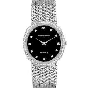 Audemars Piguet Black Diamonds 18K White Gold Vintage Men's Wristwatch 34 x 32 MM