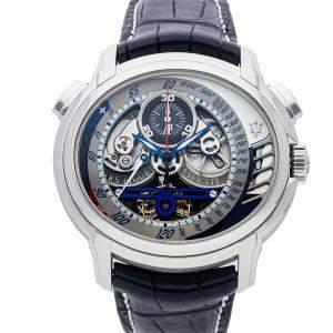 Audemars Piguet Silver Platinum Millenary MC 12 Tourbillon Chronograph 26069PT.OO.D028CR.01 Men's Wristwatch 47 MM