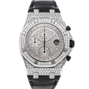 Audemars Piguet Silver Diamonds 18K White Gold Royal Oak Offshore Chronograph 26067BC.ZZ.D002CR.01 Men's Wristwatch 42 MM