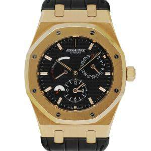 Audemars Piguet Black 18K Rose Gold Royal Oak Dual Time 26120OR Men's Wristwatch 39 MM