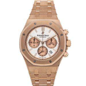 Audemars Piguet Silver 18K Rose Gold Royal Oak Chronograph 26315OR.OO.1256OR.01 Men's Wristwatch 38 MM