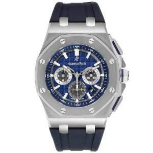 ساعة يد رجالية أوديمار بيغيه رويال أوك أوفشور كرونوغراف 26480TI ستانلس ستيل زرقاء 42 مم