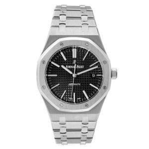 Audemars Piguet Black Stainless Steel Royal Oak 15400ST Men's Wristwatch 41 MM