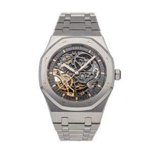 Audemars Piguet Black Stainless Steel Royal Oak 15407ST.OO.1220ST.01 Men's Wristwatch 41 MM