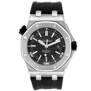 Audemars Piguet Black Stainless Steel Royal Oak Offshore 15703 Men's Wristwatch 42 MM