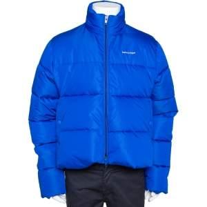 Balenciaga Bright Blue Synthetic Puffer Jacket S