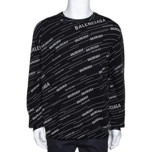 Balenciaga Monochrome Logo Jacquard Wool Crew Neck Sweater M