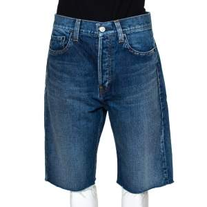 Balenciaga Blue Denim Raw Edge Capri Shorts M