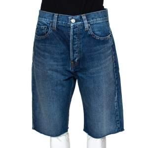 Balenciaga Blue Denim Raw Edge Capri Shorts M