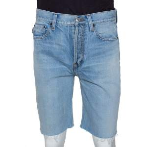 Balenciaga Blue Raw Edge Denim Shorts M