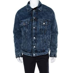 Balenciaga Blue Denim Faux Shearling Lined Oversized Jacket S