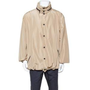 Balenciaga Beige Synthetic Logo Print Oversized Rain Jacket M