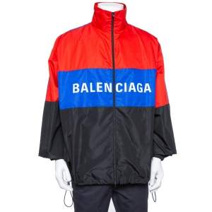 Balenciaga Color Block Logo Printed Synthetic Oversized Windbreaker Jacket XL