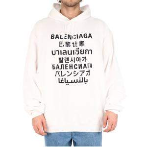 Balenciaga White Languages Sports Logo Hoodie Size M