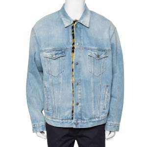 Balenciaga Blue Denim Faux Fur Lined Button Front Oversized Jacket XS