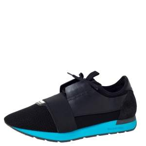 Balenciaga Black Mesh, Suede And Leather Race Runner Sneakers Size 46