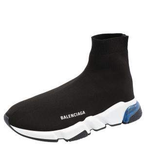 Balenciaga Black/White Speed Clear Sole Sneakers Size 43