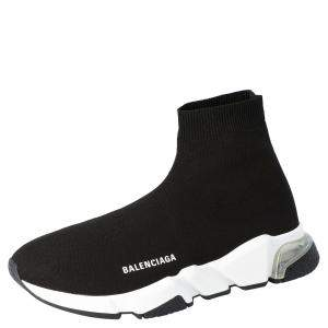Balenciaga Black/White Speed Clear Sole Sneakers Size EU 43