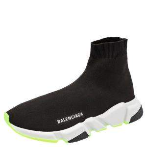 Balenciaga Black/Neon Green Speed Sock Sneakers EU 43