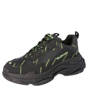 Balenciaga Black/Neon Green Triple S Sneakers Size EU 44