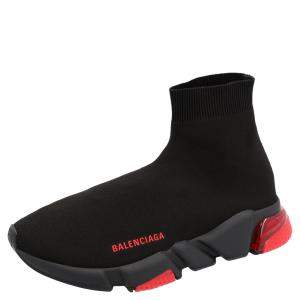 Balenciaga Black/Red Speed Clear Sole Sneakers Size EU 44