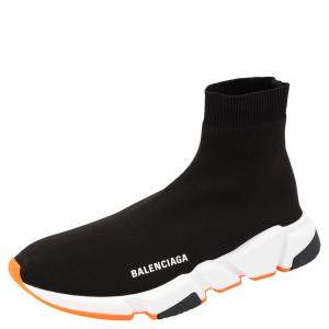 Balenciaga Black/White/Orange Speed Trainers Size 43