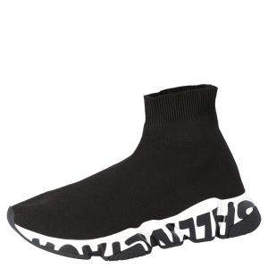 Balenciaga Black Knit Speed Graffiti Sole Sneakers Size EU 41