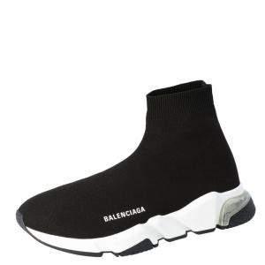 Balenciaga Black Speed Clear Sole Sneakers Size EU 42