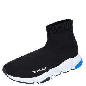 Balenciaga Black/White/Blue Knit Speed Sneakers Size EU 42