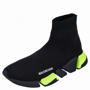 Balenciaga Black/Green Knit Speed Sneakers Size EU 43