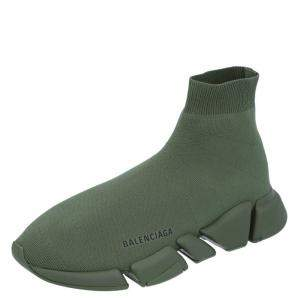Balenciaga Green Knit Speed Sneakers Size EU 42