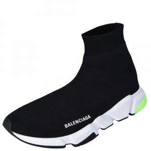 Balenciaga Black/White/Green Knit Speed Sneakers Size EU 44