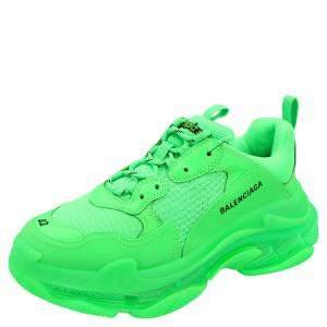Balenciaga Green Triple S Clear Sole Sneakers Size EU 42