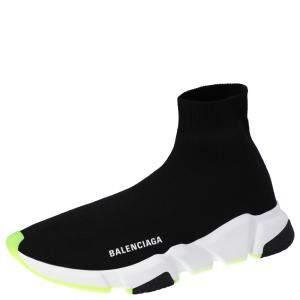 Balenciaga Black/Neon Green Knit Speed High Top Sneakers Size EU 43
