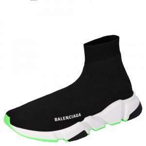Balenciaga Black/Neon Green Knit Speed High Top Sneakers Size EU 40