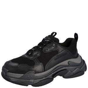 Balenciaga Black Leather and Mesh Triple S Sneakers Size EU 42