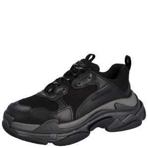 Balenciaga Black Leather and Mesh Triple S Sneakers Size EU 44