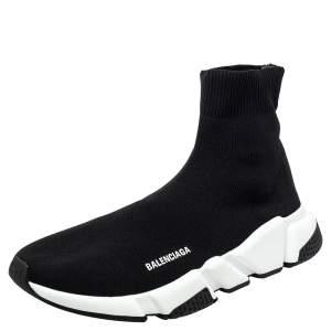 حذاء رياضي بالنسياغا سبيد ترينر قماش تريكو أسود بعنق مرتفع مقاس 41