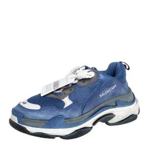 Balenciaga Blue/White Mesh And Leather Triple S Low Top Sneakers Size 43