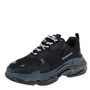Balenciaga Black Mesh And Leather  Triple S Sneakers Size 45