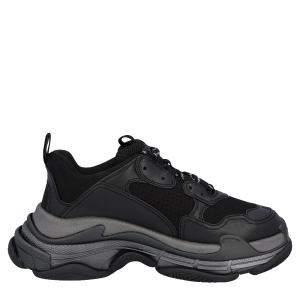 Balenciaga Black Faux Leather And Mesh Upper Triple S Sneakers Size EU 44