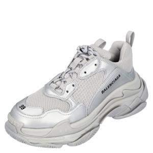 Balenciaga Silver Leather Triple S Sneakers EU 42
