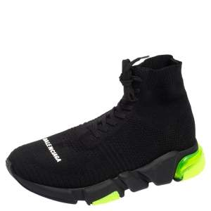 Balenciaga Black/Green Knit Fabric Speed Trainers 2.0 Lace Sneakers Size 40