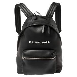 Balenciaga Black Leather Everyday Backpack