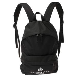Balenciaga Black Nylon Logo Crest Backpack